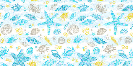 Vector seamless pattern with sea elements, crabs, seashells. Ornate maritime decor from drops. Spotty sea background for wallpaper, pattern fills, web page, surface textures. Marine life.