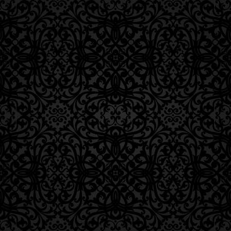 Vector seamless pattern with swirls and floral motifs in retro style. Dark background in Victorian style. It can be used for wallpaper, pattern fills, web page background, surface textures.