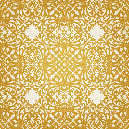 brocade: Vector seamless pattern with swirls and floral motifs in retro style. Golden Victorian background. It can be used for wallpaper, pattern fills, web page background, surface textures.