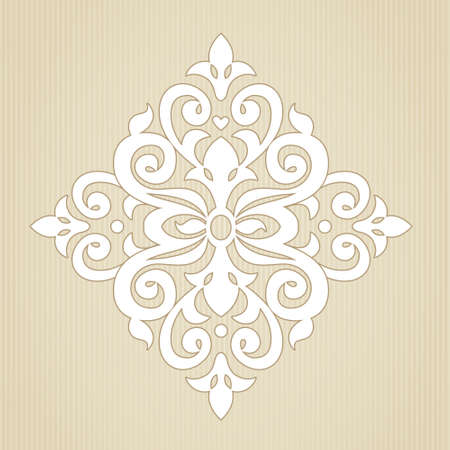 delicate arabic motif: Vintage ornate pattern. Floral baroque ornament in Victorian style. Traditional ornament and element for design. Lacy decor for greeting card and wedding invitations.
