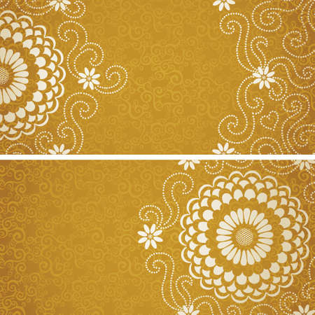 golden daisy: Vintage invitation cards with large flowers and curls. Template frame design for greeting and wedding card. You can place your text in the empty place. Illustration