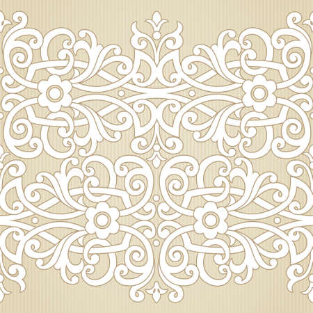 Vector seamless border in Victorian style. Ornate element for design. Place for text. Ornamental pattern for wedding invitations, greeting cards. Traditional decor.