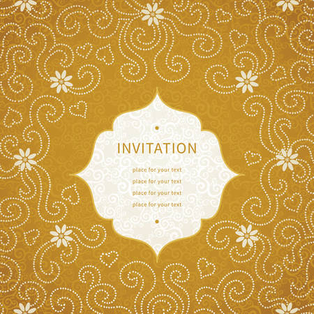 golden daisy: Vintage invitation card with small flowers and curls. Template frame design for greeting and wedding card. You can place your text in the empty place. Illustration