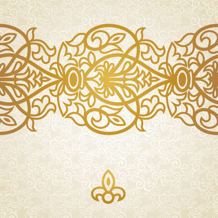 Vector baroque endless border in Victorian style. Element for design. Place for your text. It can be used for decorating of wedding invitations, greeting cards, decoration for bags and clothes. Illustration
