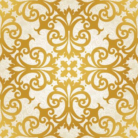 Vektor nahtlose Muster mit Strudeln und floralen Motiven im Retro-Stil. Goldene viktorianischen Hintergrund. Es kann für Tapeten, Muster füllt, Web-Seite Hintergrund, Oberflächenstrukturen.