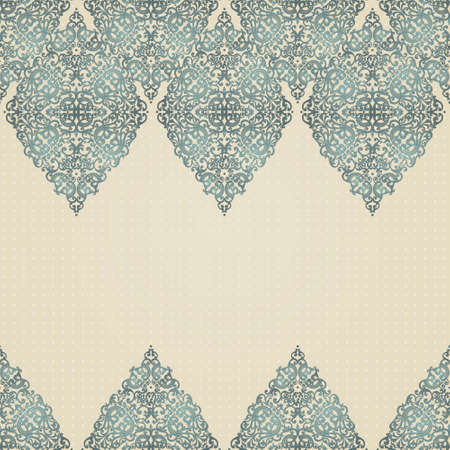 brocade: Vintage seamless border with lacy ornament. Brocade background. You can place your text in the empty place. It can be used for decorating of invitations, greeting cards, decoration for bags.