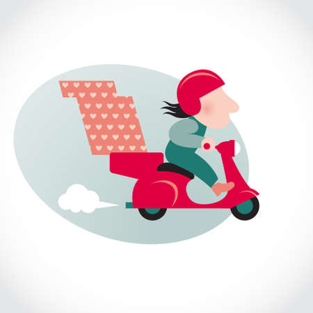 delivery icon: Funny pizza delivery man on red motorbike. Cartoon character in retro style. It can be used for decorating of invitations, cards, menu, decoration for bags and clothes.