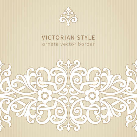 scroll design: Vector seamless border in Victorian style. Ornate element for design. Place for text. Ornamental pattern for wedding invitations, greeting cards. Traditional decor.