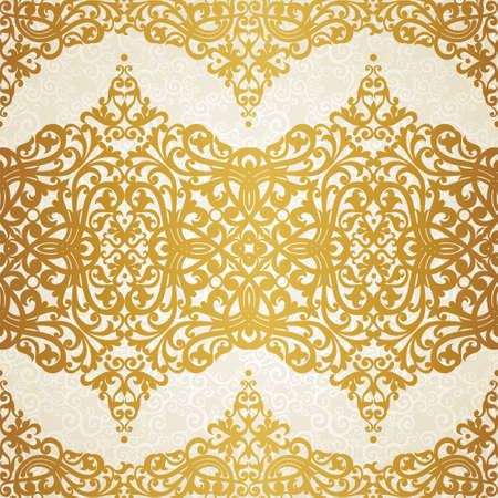 scroll design: Vector seamless pattern with swirls and floral motifs in retro style. Golden Victorian background. It can be used for wallpaper, pattern fills, web page background, surface textures.