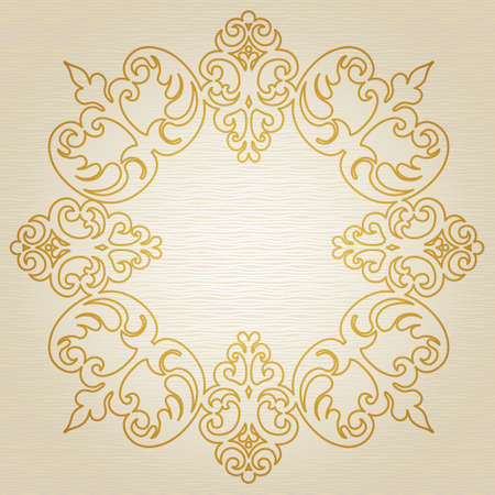 decoration style: Golden ornament frame in Victorian style on light seamless background. Element for design. It can be used for decorating of wedding invitations, greeting cards, decoration for bags.