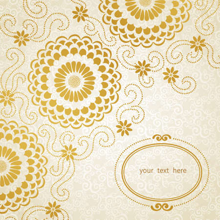 golden daisy: Vintage border with large flowers and curls. Light floral pattern. Place for your text. It can be used for decorating of wedding invitations, greeting cards, decoration for bags and clothes.