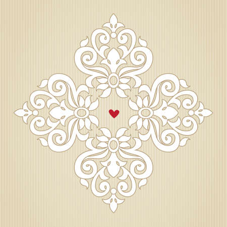 scroll design: Vintage ornate pattern. Floral baroque ornament in Victorian style. Traditional ornament and element for design. Lacy decor for greeting card and wedding invitations.