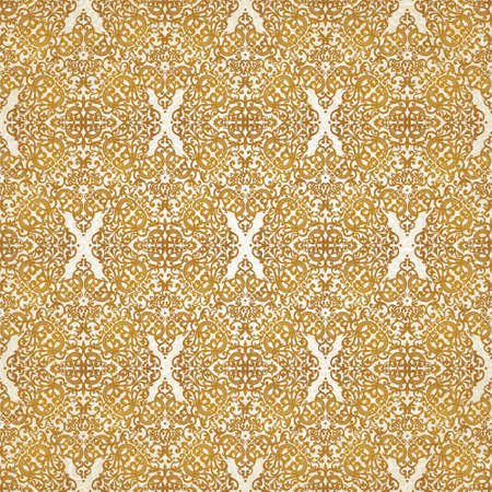 brocade: Vintage seamless pattern with lacy ornament in retro style. Gold brocade background. It can be used for wallpaper, pattern fills, web page background, surface textures. Illustration