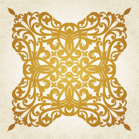 gold frame: Symmetric ornament pattern in Victorian style on seamless curls background. Element for design. It can be used for decorating of invitations, cards, decoration for bags and at tattoo creation.