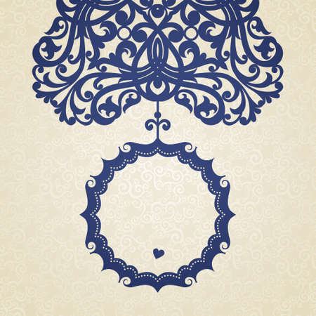 blue circle: Vector baroque frame in Victorian style. Element for design. You can place the text in an empty frame. It can be used for decorating of invitations, greeting cards, decoration for bags and clothes.
