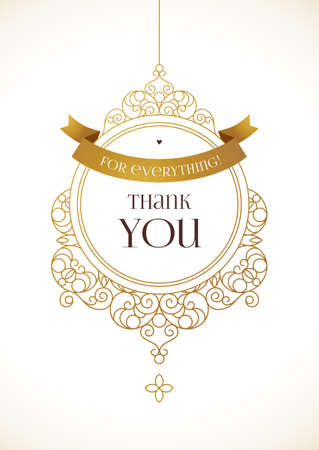 frame vector: Vector golden ornate frame for thank you message. Floral ornament with gold ribbon. Outline decor for design in Eastern style. Vintage oriental template. Illustration