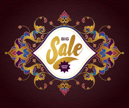 Vector ornate sale discount banner in Eastern style. Vintage oriental golden ornament. Template placard design for sale season. Luxury decorated border for time of sales. Easy to use, layered. Illustration