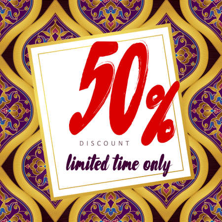 oriental season: Vector ornate sale -50% discount banner in Eastern style.Vintage oriental golden ornament. Template placard design for sale season. Luxury decorated border for time of sales. Easy to use, layered.