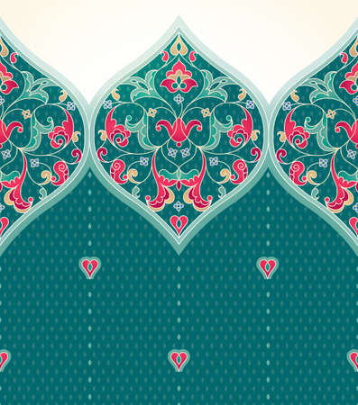 arabesque pattern: Vector seamless border in Eastern style. Ornate turquoise element for design. Place for text. Ornament for invitations, birthday, greeting cards, web pages. Floral oriental decor. Luxury wallpaper. Illustration