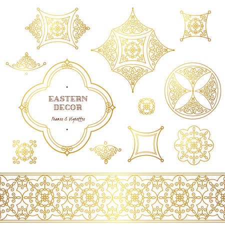 scrollwork: Vector set of line art frames, vignettes for design template. Element in Eastern style. Golden outline floral ornaments. Mono line decor for invitations, greeting cards, certificate, thank you message.