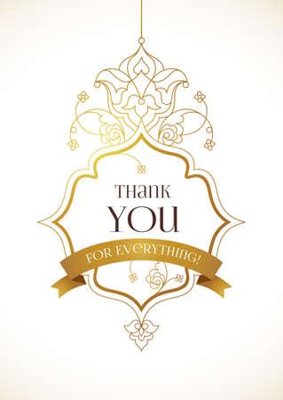 ornate frame: Vector golden ornate frame for thank you message. Floral ornament with gold ribbon. Outline decor for design in Eastern style. Vintage oriental template. Illustration