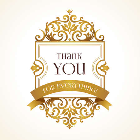 Vector cornice dorata ornata di messaggio di ringraziamento. ornamento floreale con nastro d'oro. arredamento di lusso per il design in stile vittoriano. modello d'epoca orientali. Archivio Fotografico - 65737971