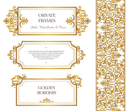 Vector set of golden frames and border for design template. Elements in Victorian style. Luxury floral frames. Ornate decor for invitations, greeting cards, certificate, thank you message.