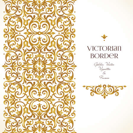 Vector golden border for design template. Element in Victorian style. Luxury floral frame, frieze and vignette. Ornate decor for invitations, greeting cards, certificate, thank you message, web page.