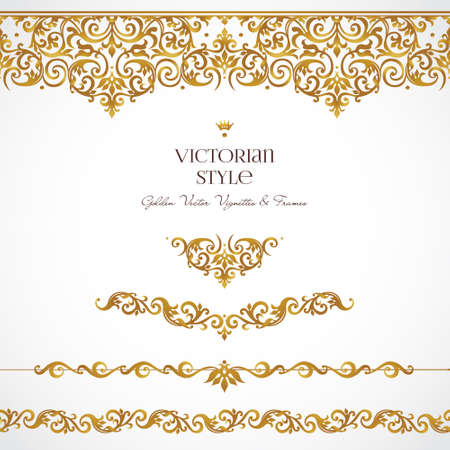 golden frames: Vector set of golden vignettes and borders for design template. Elements in Victorian style. Luxury floral frames. Ornate decor for invitations, greeting cards, certificate, thank you message. Illustration