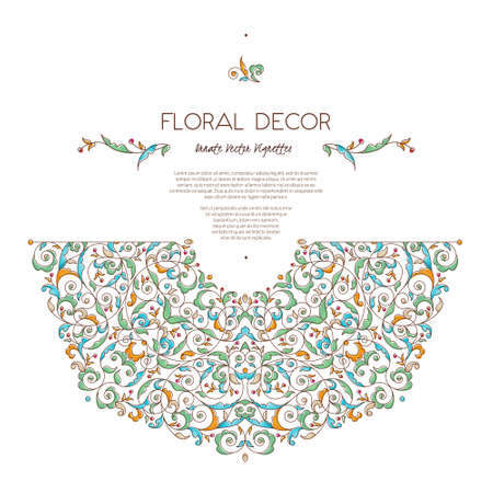 Vector set frames and vignette for design template. Vintage element in Eastern style. Outline floral illustration. Ornate decor for invitation, birthday and greeting card, labels, thank you message. Illustration