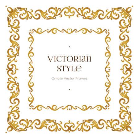벡터 황금 소중한 프레임 디자인 서식 파일입니다. 빅토리아 스타일의 우아한 요소입니다. 골드 꽃 테두리입니다. 레이스 장식 초대장, 인사말 카드,  일러스트
