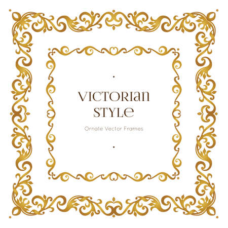 Vector golden precious frame for design template. Elegant element in Victorian style. Gold floral border. Lace decor for invitations, greeting cards, certificate, thank you message.