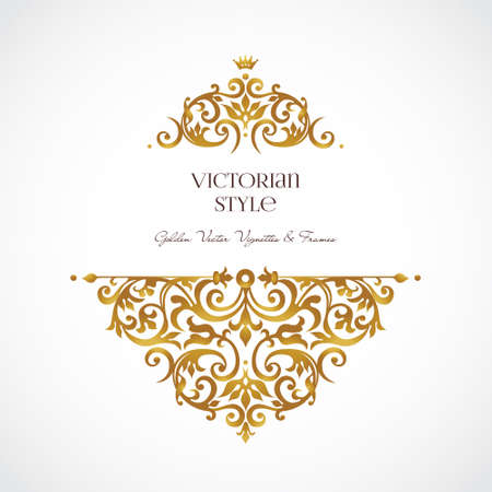 victorian frame: Ornate vintage vignettes. Luxury floral golden decor in Victorian style. Template frame for greeting card, wedding invitation, certificate, leaflet, poster. Vector border with place for text.