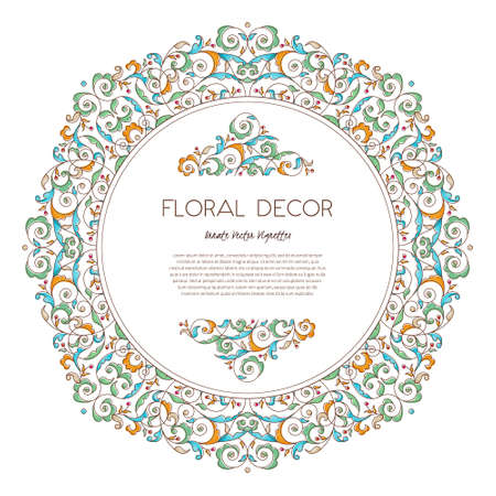 Vector vintage frame, vignettes in Eastern style. Ornate floral element for design. Ornamental illustration for invitation, birthday and greeting cards, wallpaper. Place for text. Outline round decor.