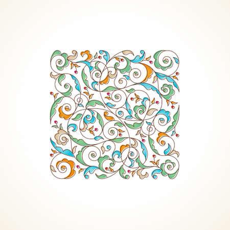 Vector vintage motif dans le style oriental. élément floral Ornement pour la conception. illustration d'ornement pour les invitations de mariage, d'anniversaire et cartes de souhaits, papier peint. Outline décor carré coloré.