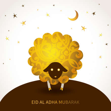 sacrifice: Ornate vector greeting card with floral decorated sheep. Template for Muslim Community Festival. Eid-Al-Adha (Feast of the Sacrifice). Golden decor in Eastern style. Islamic background.
