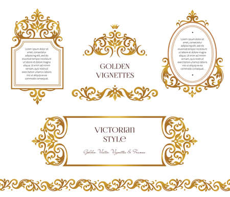 Vector set frames and vignette for design template. Element in Victorian style. Golden floral seamless border. Ornate decor for invitation, greeting card, certificate, thank you message. Ilustração