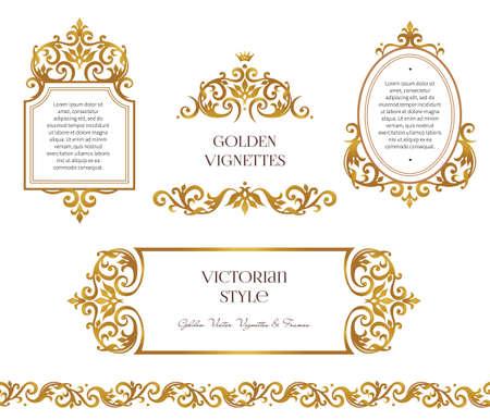 Wektor zestaw ramek i winieta dla szablonu projektu. Element w stylu wiktoriańskim. Złoty kwiatu bez szwu obramowania. Ozdobny wystrój na zaproszenie, kartkę z życzeniami, certyfikat, dziękuję. Ilustracje wektorowe