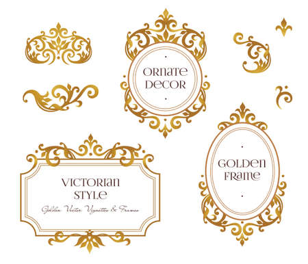 ベクトルは、フレームとデザイン テンプレートのビネットを設定します。ビクトリア朝様式の要素です。黄金の花のボーダー。招待状、グリーティング カード、証明書、お礼のメッセージのための華やかな装飾。
