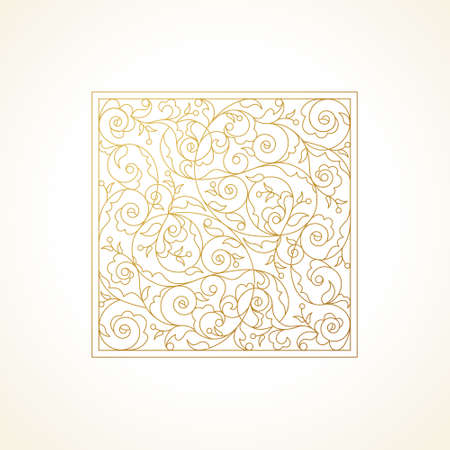 arabesque pattern: Vector vintage pattern in Eastern style. Ornate floral element for design. Ornamental illustration for wedding invitations, birthday and greeting cards, wallpaper. Outline golden square decor.