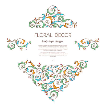 scrollwork: Vector set frames and vignette for design template. Vintage element in Eastern style. Outline floral illustration. Ornate decor for invitation, birthday and greeting card, labels, thank you message. Illustration