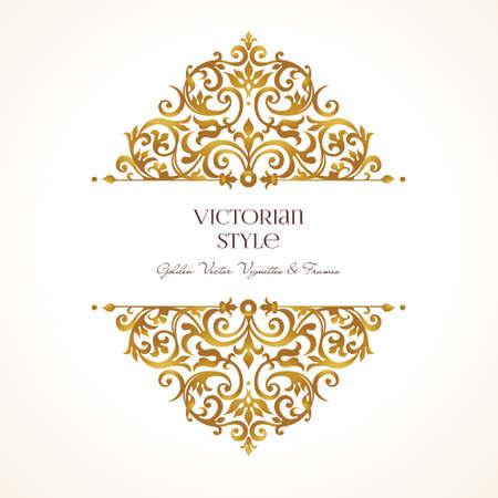 華やかなビンテージ ビネット。ビクトリア朝様式の高級花黄金装飾。グリーティング カード、結婚式招待状、証明書、リーフレット、ポスターのテ