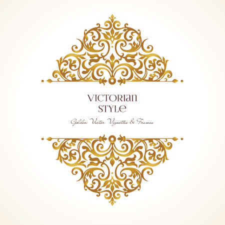 Ornate vintage vignettes. Luxury floral golden decor in Victorian style. Template frame for greeting card, wedding invitation, certificate, leaflet, poster. Vector border with place for text.
