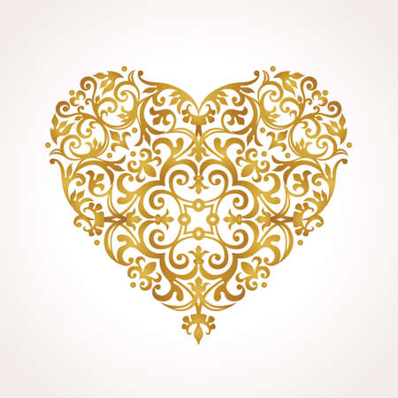 Ornate vector heart in Victorian style. Elegant element for design, place for text. Lace floral illustration for wedding invitations, greeting cards, Valentines cards. Golden luxury illustration. Vettoriali