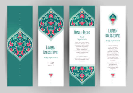 vector set: Vector set of ornate vertical cards in oriental style. Turquoise Eastern floral decor. Template vintage frame for greeting card and wedding invitation. Labels and tags with place for text. Illustration