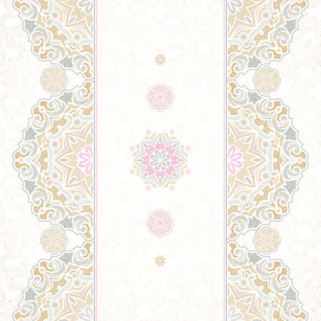 wedding background: Vector seamless border in Eastern style. Vintage element for design, place for text. Ornamental floral pattern, pastel tracery for wedding invitations, greeting cards. Traditional delicate decor, filigree background.