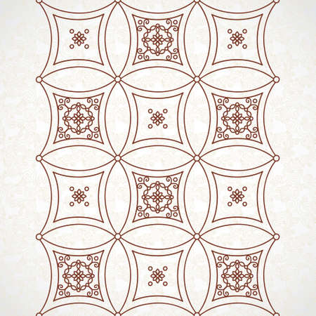 brocade: Vector vintage border in Eastern style. Ornate element for design. Ornamental floral illustration for wedding invitations and greeting cards. Traditional brown decor on scroll work background.
