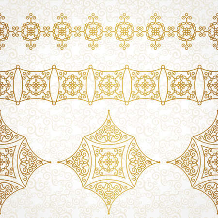 Vector vintage borders in Eastern style. Ornate element for design and place for text. Ornamental floral illustration for wedding invitations and greeting cards. Traditional golden decor on scroll work background.