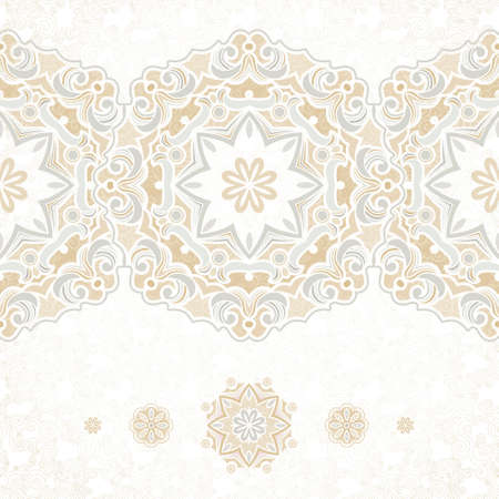 vintage design: Vector seamless border in Eastern style. Vintage element for design, place for text. Ornamental floral pattern, pastel tracery for wedding invitations, greeting cards. Traditional delicate decor, filigree background.