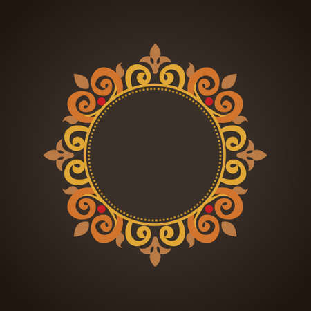 brocade: Vector vintage frame in Victorian style. Ornate element for flat design, place for text. Ornamental floral pattern for invitations, greeting cards. Traditional colorful decor on black background. Illustration